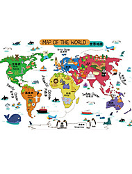 Wall Stickers Wall Decals Style Animal World Map PVC Wall Stickers