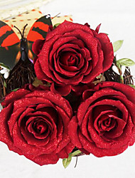 5-6.5cm Three Red Roses with Shimmer Preserved Fresh Flowers
