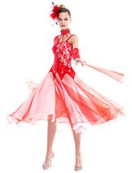 Dança de Salão Roupa Mulheres Actuação Elastano Renda 5 Peças Vestido Tiaras Neckwear Braceletes