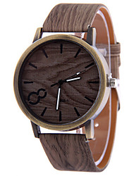 Men's Gray Case Wood Shape PU Leather Band Analog Quartz Wrist Watch Cool Watch Unique Watch