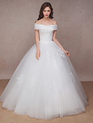 Princess Wedding Dress Floor-length Off-the-shoulder Lace / Organza with Criss-Cross / Lace