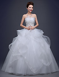 A-line Wedding Dress-White Floor-length Strapless Lace / Tulle