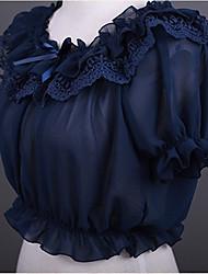 Une Pièce/Robes Doux Lolita Cosplay Vêtrements Lolita Noir Blanc Bleu Rouge Beige Dentelle Manches courtes Court Robe PourPlastique