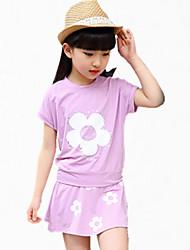Menina de Camiseta / Saia Verão Algodão Violeta / Vermelho