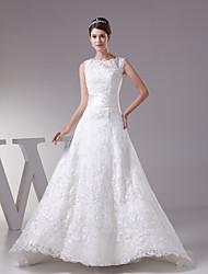 A-line Wedding Dress-Ivory Court Train Jewel Lace / Satin