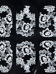 Flower Black White Lace Nail Jewelry
