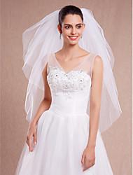 White / Ivory Wedding Veils Cut EdgeVeil Three-tier Fingertip Veils Cut Edge With Comb