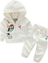 Girl's White Clothing Set Cotton Spring / Fall