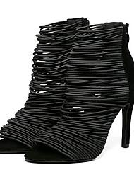 Women's Shoes Fleece Stiletto Heel Heels Sandals Party & Evening Black