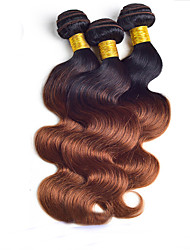 "3Pcs/Lot 8""-24"" Brazilian Virgin Hair,Color 1b/30 Body Wave, Factory Wholesales Raw Human Hair Weaves."