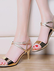 Women's Shoes Patent Leather Stiletto Heel Peep Toe Sandals Wedding / Party & Evening / Dress / Casual Silver / Gold