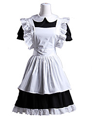 Short Sleeve Short Black and White Cotton Maid Cosplay Lolita Dress