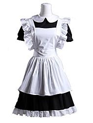 Une Pièce/Robes Tenus de Servante Doux Lolita Cosplay Vêtrements Lolita Blanc Mosaïque Manches courtes Court Robe Tablier Pour Coton