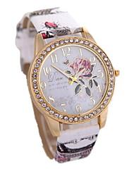 Mulheres Relógio de Moda Quartzo Couro Banda Cores Múltiplas Bege # 1 # 2 # 3