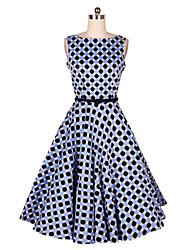 Women's Vintage Geometric A Line Dress,Round Neck Midi Cotton