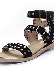 Zapatos de mujer-Tacón Bajo-Gladiador-Sandalias-Oficina y Trabajo / Vestido / Casual-Ante / Cuero-Negro / Marrón / Almendra