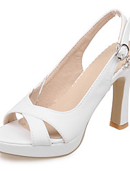 Зеленый / Розовый / Белый-Женская обувь-Для праздника / Для вечеринки / ужина-Дерматин-На толстом каблуке-На каблуках / На платформе / С
