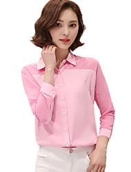 Women's Shirt Collar Korean Patchwork Stitching Loose Long Chiffon Shirt