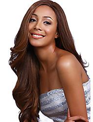 Long Length Beautiful Hair European Weave Brown Color Hair Synthetic Wig