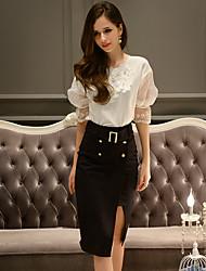dabuwawa Frauen solide schwarze Röcke, Arbeit / casual / Tag knielang