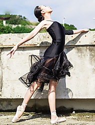 Ballet Dresses Women's Performance Spandex Cascading Ruffle / Ruched 1 Piece Black