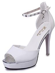 Scarpe Donna-Sandali / Scarpe col tacco-Tempo libero / Ufficio e lavoro / Casual-Tacchi / Spuntate-A stiletto-Finta pelle-Nero / Bianco /