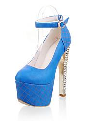 Calçados Femininos-Saltos-Saltos / Plataforma / Arrendondado-Salto Grosso-Azul / Amarelo / Laranja-PU-Social / Casual / Festas & Noite