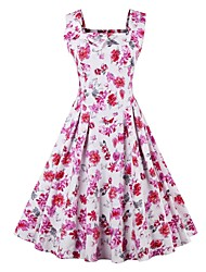 Women's Plus Size Vintage Swing Dress,Floral Strap Midi Sleeveless Pink Cotton Summer