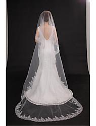 Véus de Noiva Uma Camada Véu Capela Corte da borda Borda com aplicação de Renda Tule Bege