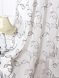 Two Panels Country Living Embroidery Room Polyester Sheer Curtains Shades