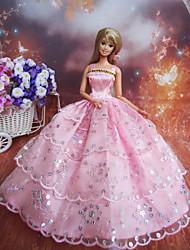 Muñeca Barbie-Rosa-Corte Princesa-Satén / Encaje-Vestidos-Vestidos