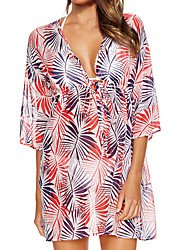 Women's Halter One-pieces / Cover-Ups,Floral One-Pieces Chiffon Red