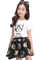 Girl's Cotton Summer Cat Pattern Short Sleeve T-shirt Short Dress Two-piece Clothing Set