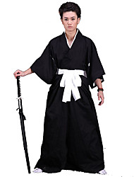 Inspired by Cosplay Cosplay Anime Cosplay Costumes Cosplay Suits / Kimono Solid Black 3/4-Length SleeveKimono Coat / Hakama pants /