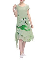 Women's Ruffles Asymmetrical Chinese Style Flower Printed Linen Dress Print Randomly