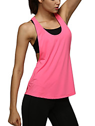 Women's Summer Style Solid Color Workout Sleeveless Tank Top Sports and Fitness Loose Vest Blue/Black Tanks
