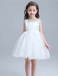 A-line Knee-length Flower Girl Dress - Cotton / Organza / Satin Sleeveless Square with