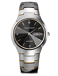 GUANQIN® High-end Fashion Men Japanese Quartz Diamond Sapphire Crystal Dual Calendar Tungsten Steel Band Dress Wrist Watch Cool Watch With Watch Box