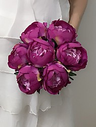 "Wedding Flowers Round Peonies Bouquets Wedding / Party/ Evening Yellow / Fuchsia / Red / White / Beige / Purple Satin 7.87""(Approx.20cm)"
