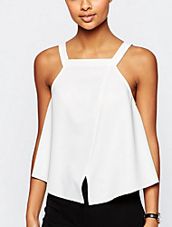 Women's Solid White Blouse,Strap Sleeveless
