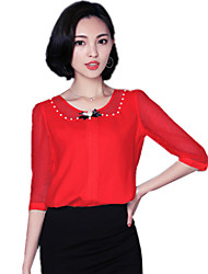 Summer Women's Fashion Beading Round Neck 1/2 Sleeve Casual Chiffon Shirt Blouse Tops