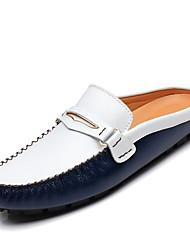 Chaussures Hommes-Décontracté-Noir / Bleu / Jaune-Cuir-Sabots & Mules / Sans Fermeture