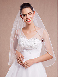 White / Ivory Bride Wedding Veil One-tier Elbow Veils Cut Rhinestone Edge+Comb