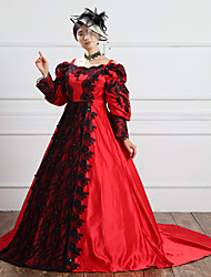 One-Piece/Dress Gothic Lolita Steampunk® / Victorian Cosplay Lolita Dress Red Solid Long Sleeve Long Length Dress For WomenSatin / Lace /