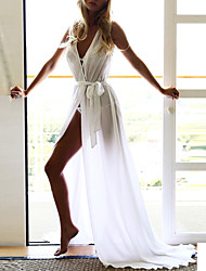 Women's Sexy Solid Chiffon Dress,V Neck Maxi Polyester Beach