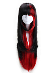 Lolita Wigs Punk Lolita Lolita Long Red / Black Lolita Wig 75 CM Cosplay Wigs Color Block Wig For Women
