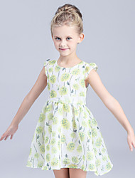 Girl's Casual/Daily Print Dress,Cotton Summer / Spring Green / Pink