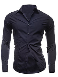 Men's Long Sleeve Shirt,Cotton Work / Formal Solid