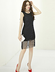 Women's Sexy Patchwork Lace Dress,Round Neck Knee-length Polyester