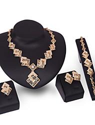 XIXI Women's Vintage 18K Gold Plated Zirconia Cut Out Flower Necklace & Earrings & Bracelet & Ring Jewelry Set
